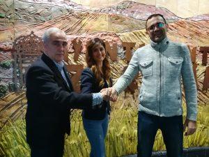 Javier Colmenero (vicepresidente FCYLBM), Susana Suárez (alcaldesa Zaratán) y David Pérez (técnico deportes Zaratán).